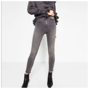 Zara high waist skinny grey Jeans 10 30 crop